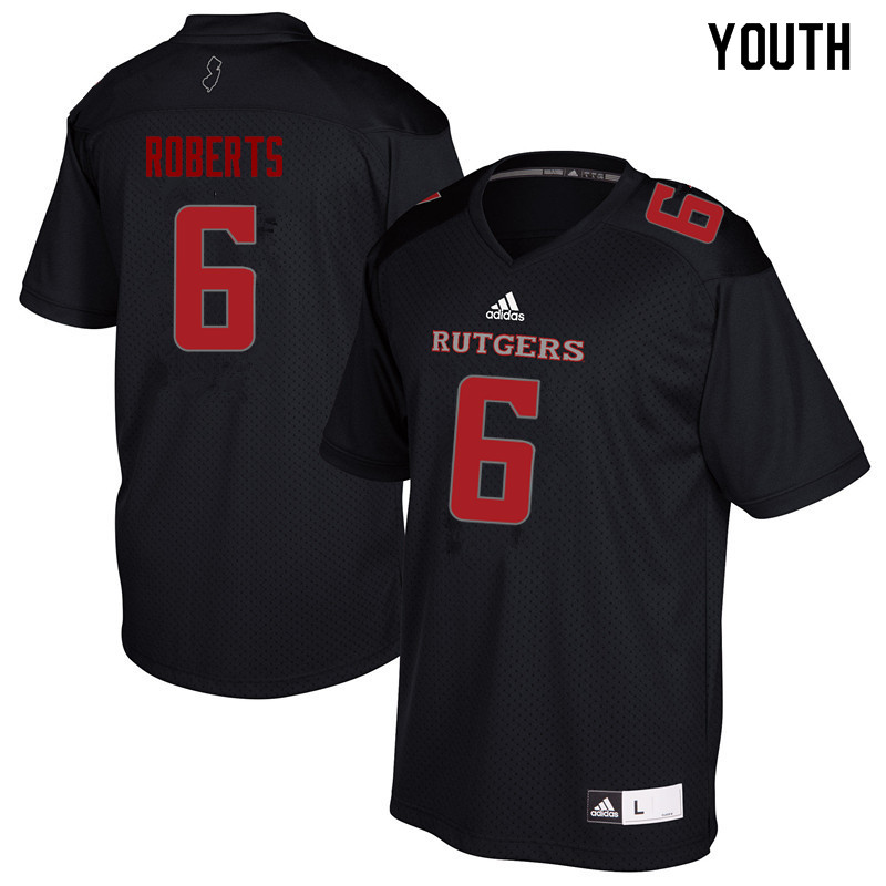 Youth #6 Deonte Roberts Rutgers Scarlet Knights College Football Jerseys Sale-Black