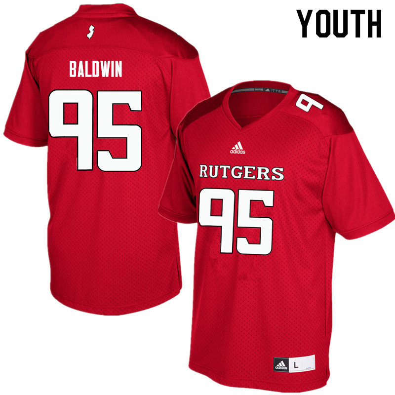 Youth #95 Devin Baldwin Rutgers Scarlet Knights College Football Jerseys Sale-Red
