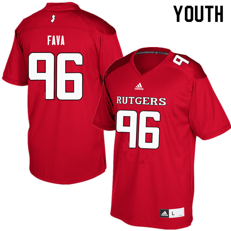 Youth #96 Guy Fava Rutgers Scarlet Knights College Football Jerseys Sale-Red