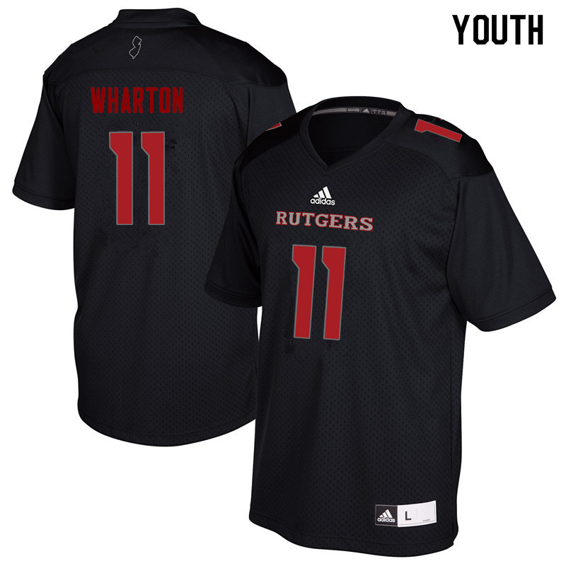 Youth #11 Isaiah Wharton Rutgers Scarlet Knights College Football Jerseys Sale-Black