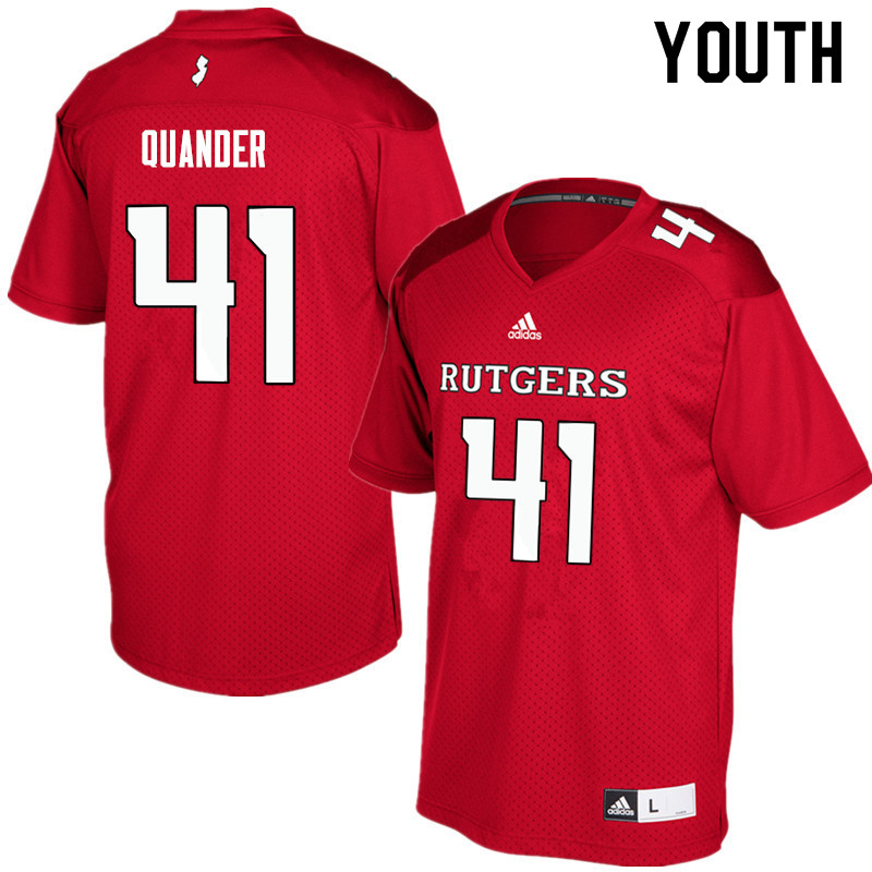 Youth #41 Jack Quander Rutgers Scarlet Knights College Football Jerseys Sale-Red