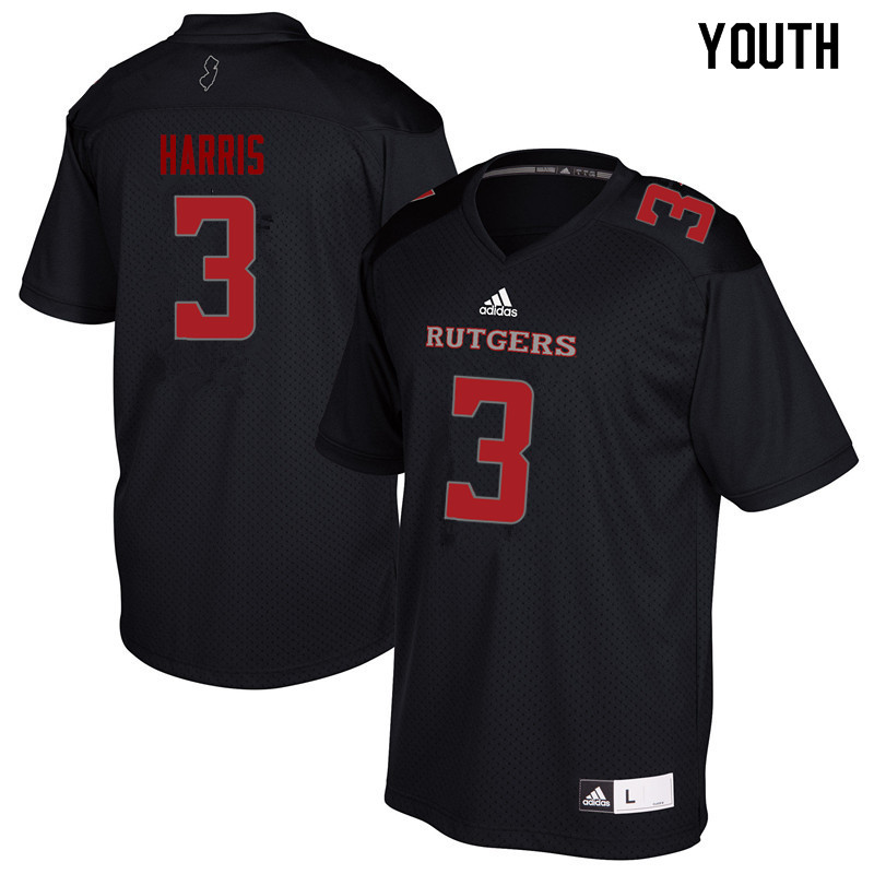 Youth #3 Jawuan Harris Rutgers Scarlet Knights College Football Jerseys Sale-Black