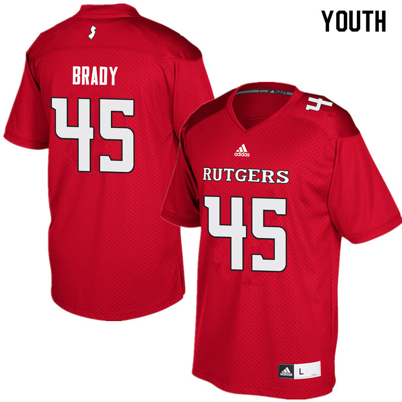 Youth #45 Jim Brady Rutgers Scarlet Knights College Football Jerseys Sale-Red