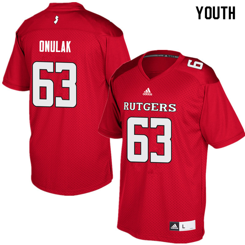 Youth #63 Jim Onulak Rutgers Scarlet Knights College Football Jerseys Sale-Red