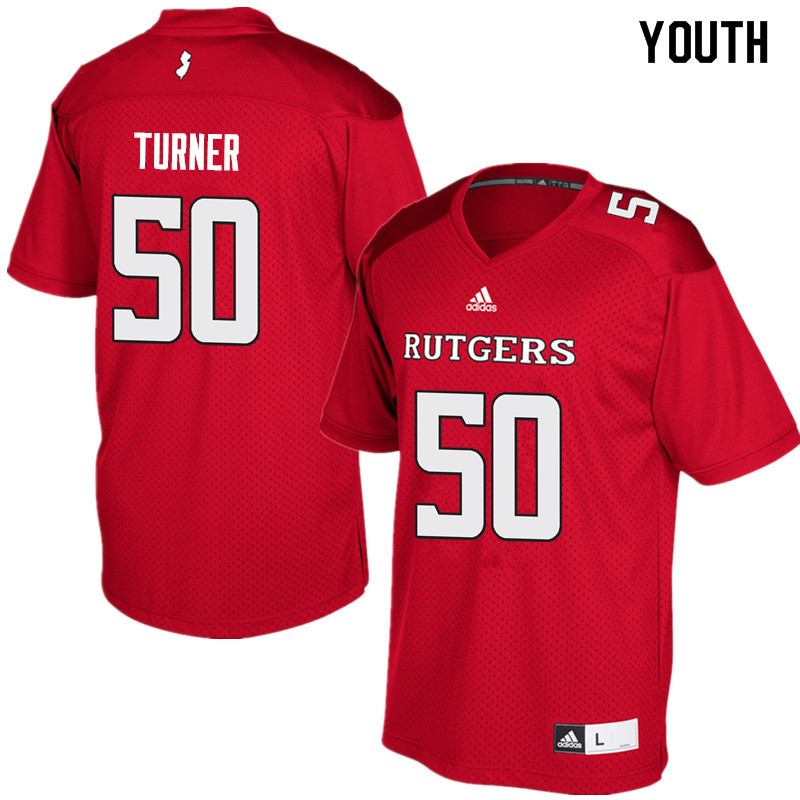 Youth #50 Julius Turner Rutgers Scarlet Knights College Football Jerseys Sale-Red