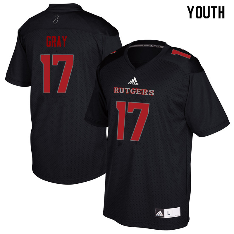 Youth #17 K.J. Gray Rutgers Scarlet Knights College Football Jerseys Sale-Black