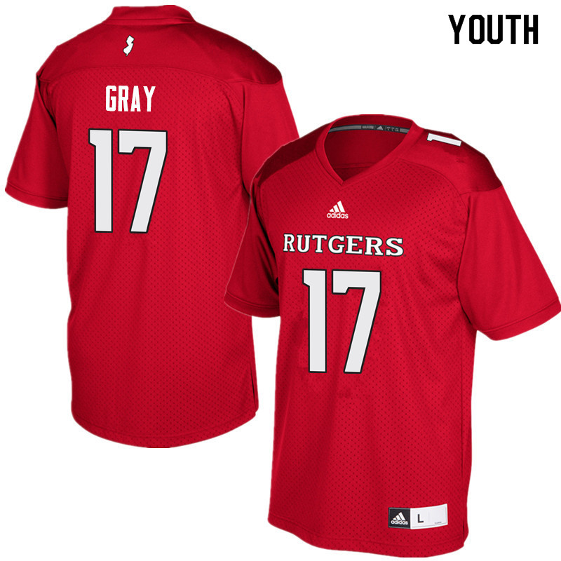 Youth #17 K.J. Gray Rutgers Scarlet Knights College Football Jerseys Sale-Red