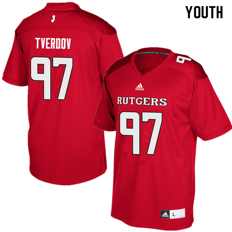 Youth #97 Mike Tverdov Rutgers Scarlet Knights College Football Jerseys Sale-Red