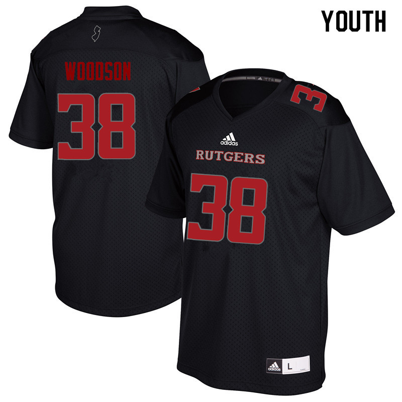 Youth #38 Nyshere Woodson Rutgers Scarlet Knights College Football Jerseys Sale-Black
