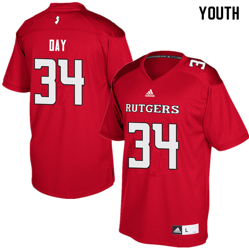 Youth #34 Parker Day Rutgers Scarlet Knights College Football Jerseys Sale-Red