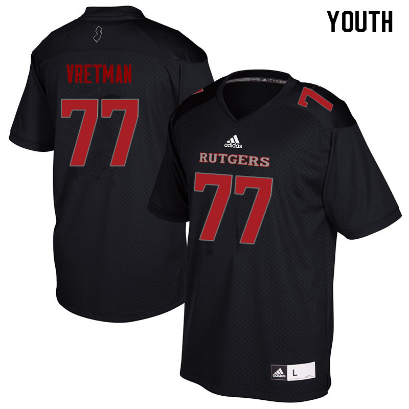 Youth #77 Sam Vretman Rutgers Scarlet Knights College Football Jerseys Sale-Black