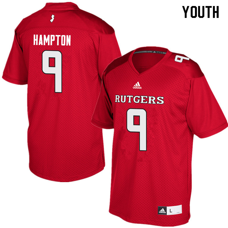 Youth #9 Saquan Hampton Rutgers Scarlet Knights College Football Jerseys Sale-Red