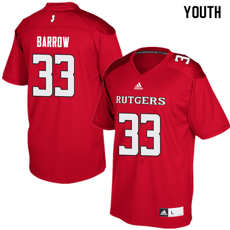 Youth #33 Tim Barrow Rutgers Scarlet Knights College Football Jerseys Sale-Red