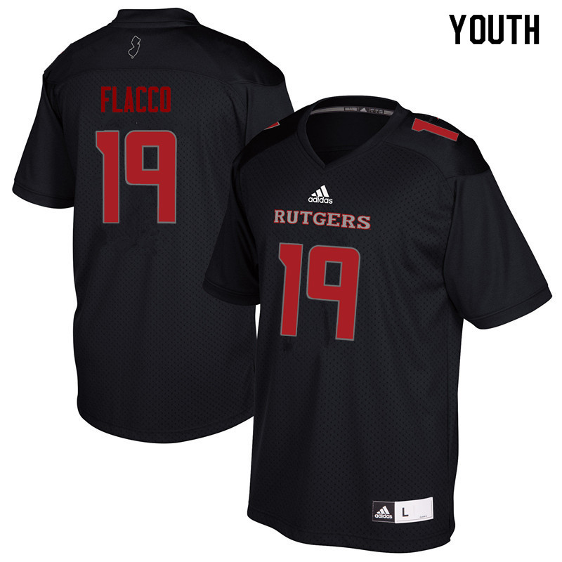 Youth #19 Tom Flacco Rutgers Scarlet Knights College Football Jerseys Sale-Black