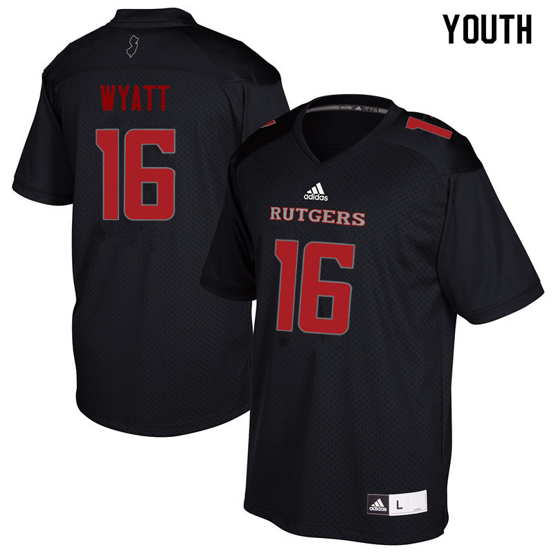 Youth #16 Tommy Wyatt Rutgers Scarlet Knights College Football Jerseys Sale-Black