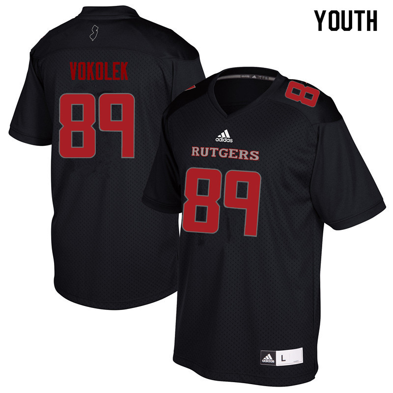Youth #89 Travis Vokolek Rutgers Scarlet Knights College Football Jerseys Sale-Black