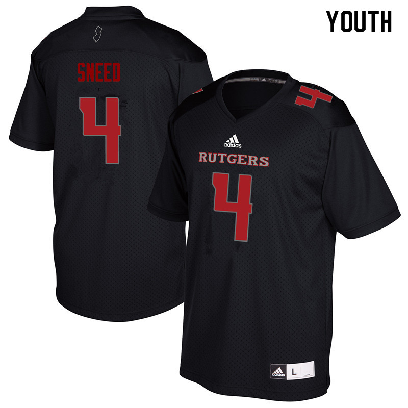 Youth #4 Trey Sneed Rutgers Scarlet Knights College Football Jerseys Sale-Black