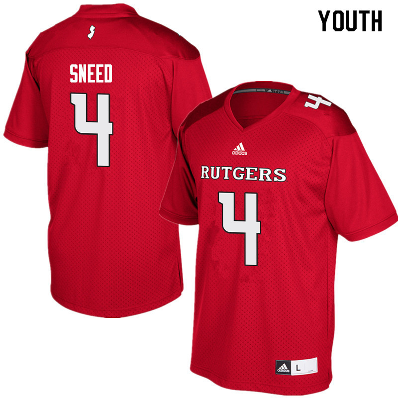 Youth #4 Trey Sneed Rutgers Scarlet Knights College Football Jerseys Sale-Red