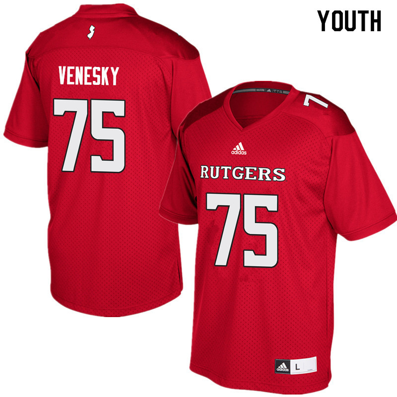 Youth #75 Zach Venesky Rutgers Scarlet Knights College Football Jerseys Sale-Red