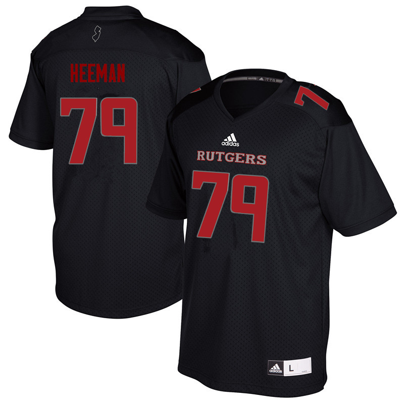 Men #79 Zack Heeman Rutgers Scarlet Knights College Football Jerseys Sale-Black